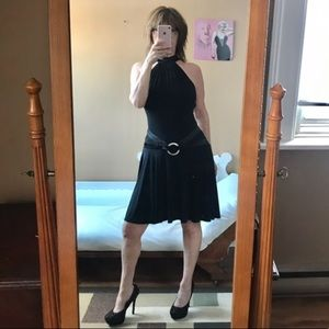 BLACK BACKLESS COCKTAIL DRESS WITH RHINESTONES